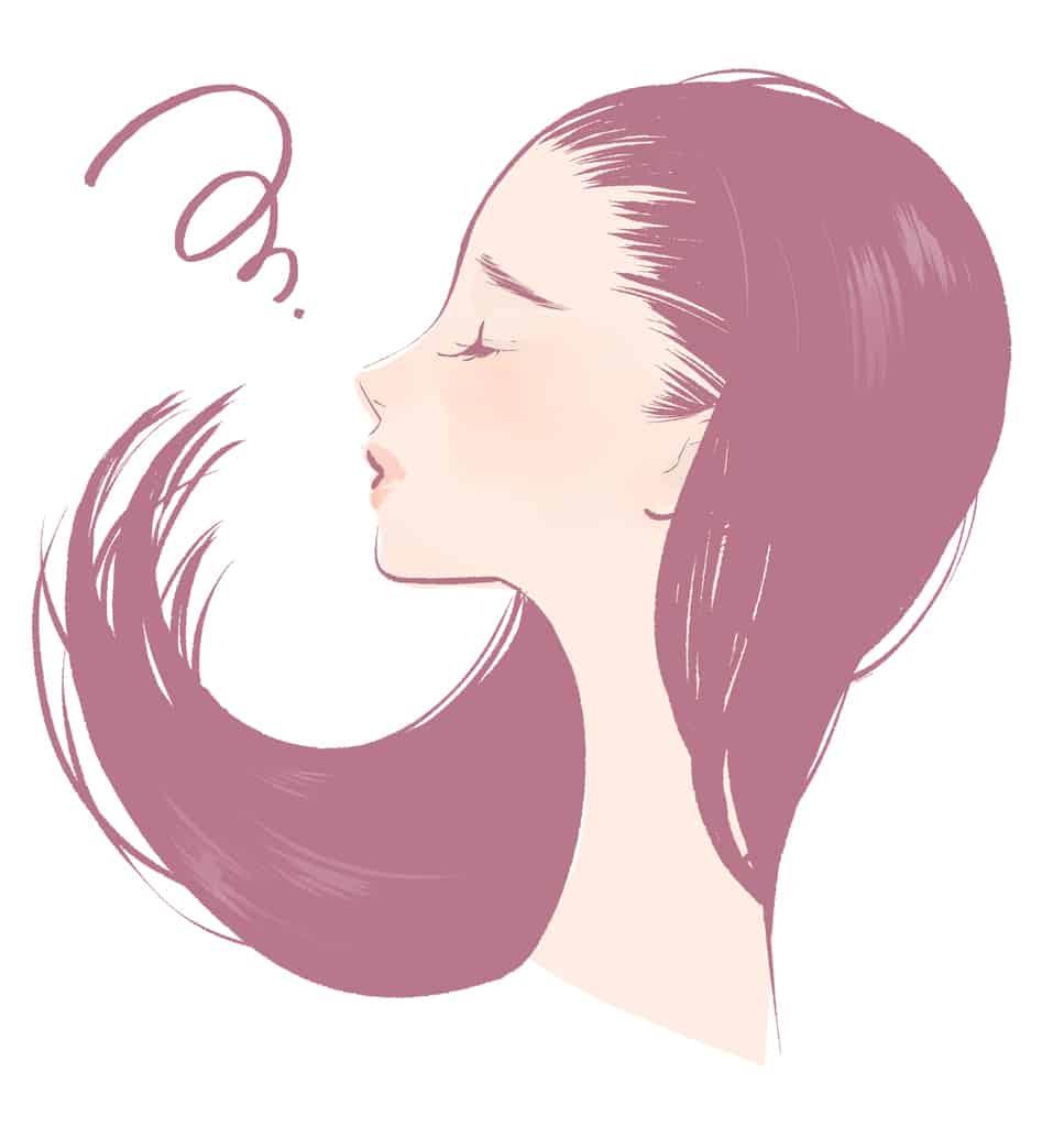 切れ毛で悩んでいる女性